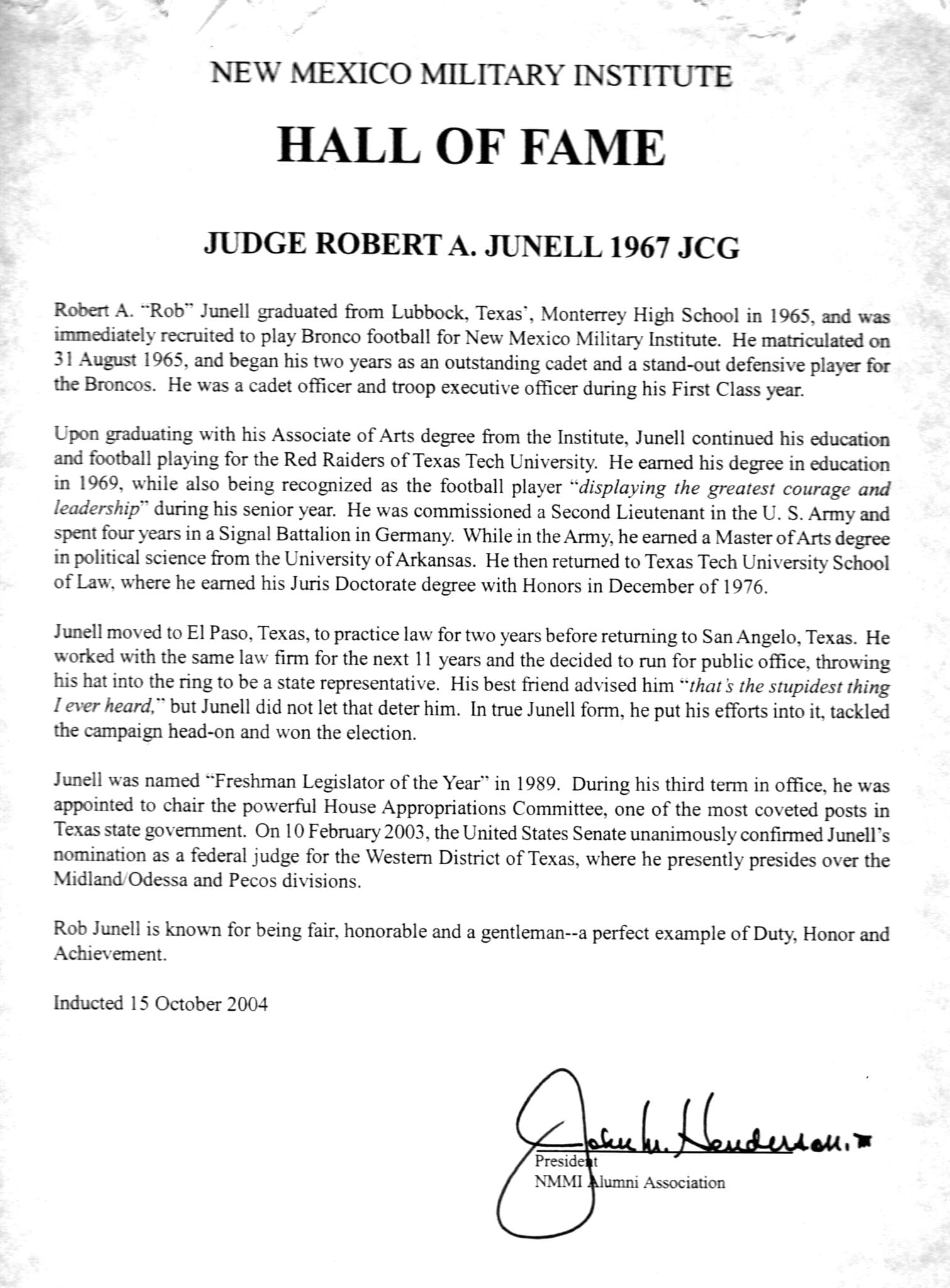 2004 – Judge Robert A  Junell 1967 JC – New Mexico Military
