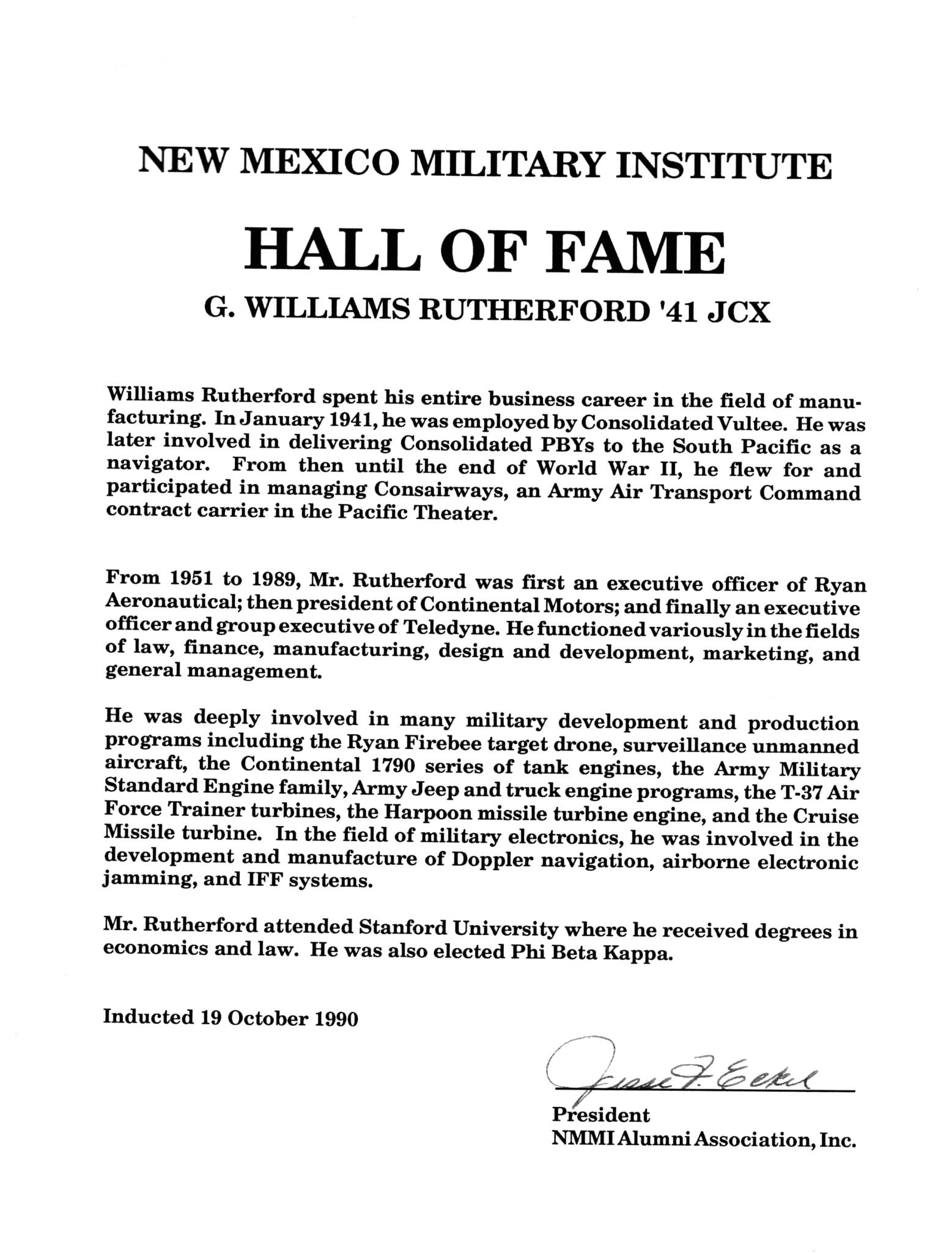 1990 – Mr George Williams Rutherford 1941 JC – New Mexico Military