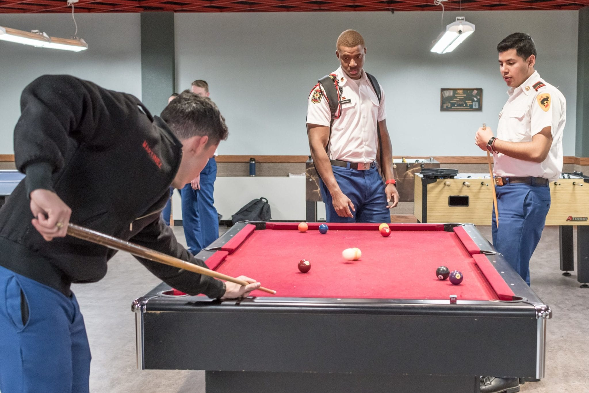 cadets playing billiards