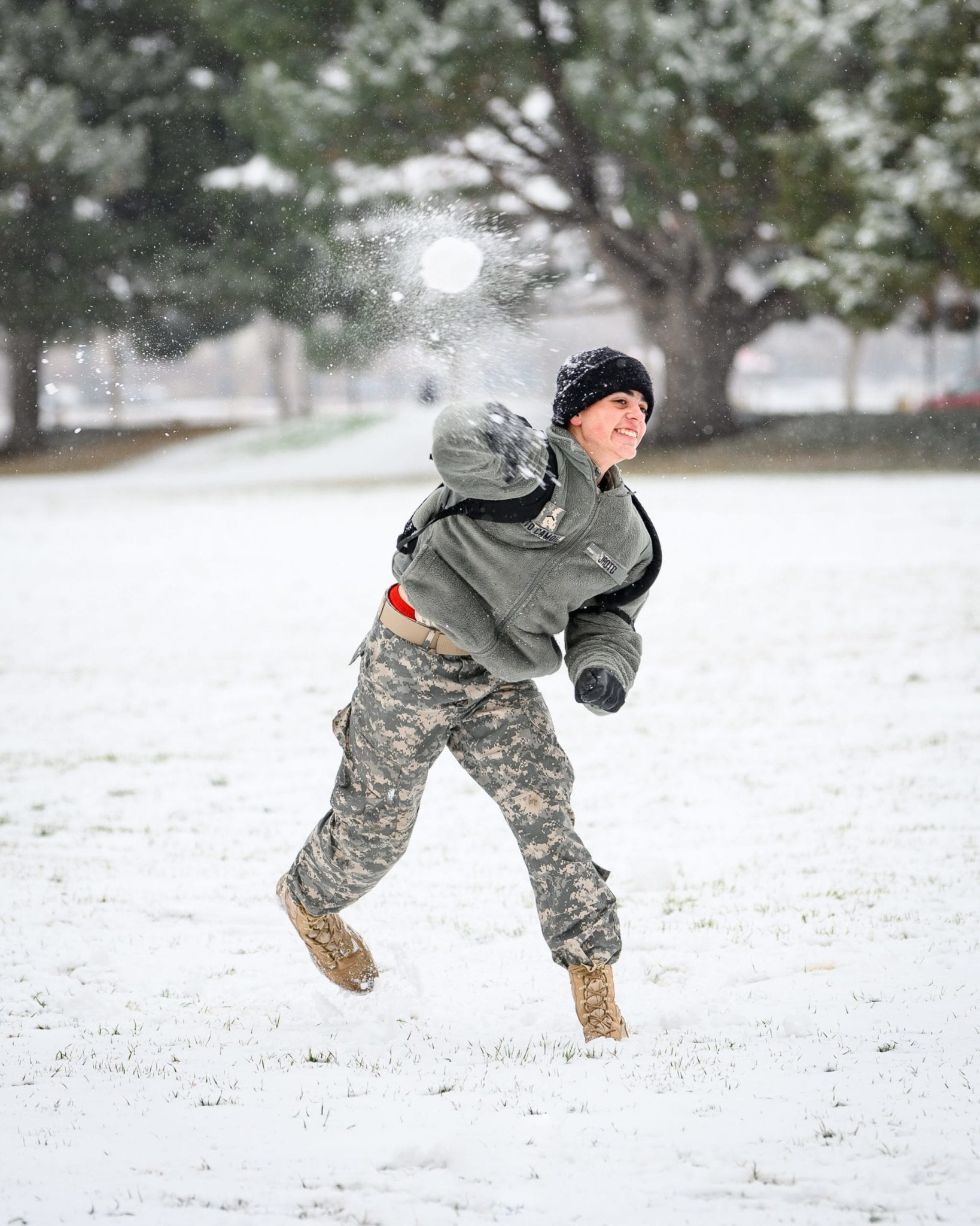 cadet throwing snowball